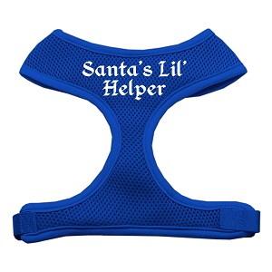 Santa's Lil Helper Screen Print Soft Mesh Harness Blue Medium
